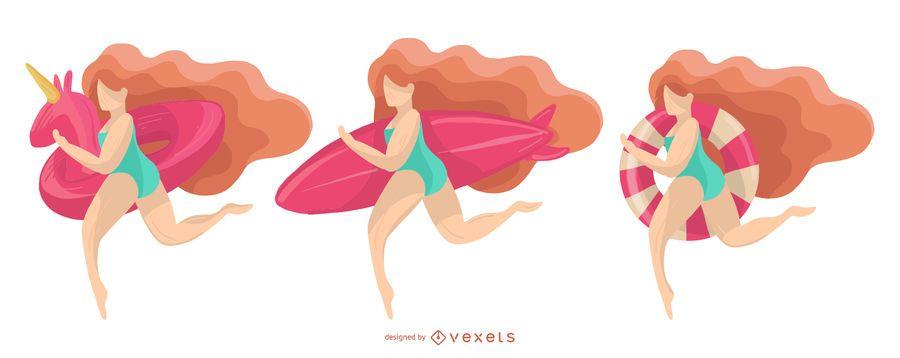diseño de niña de playa