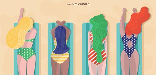 projeto de meninas de verão para banhos de sol