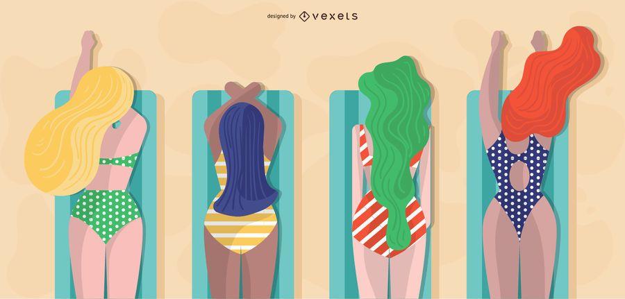 diseño de chicas de verano para tomar el sol