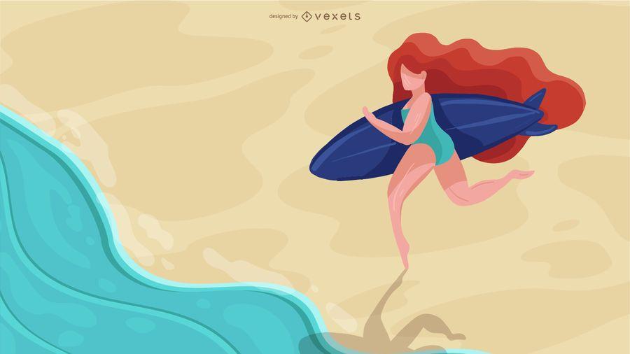 Design de garota surfista