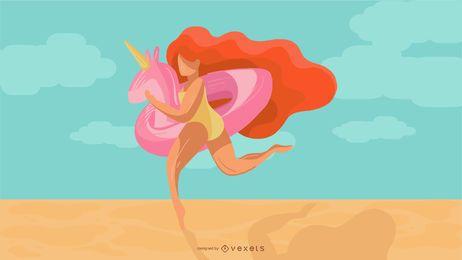 Mulher de flutuador de unicórnio