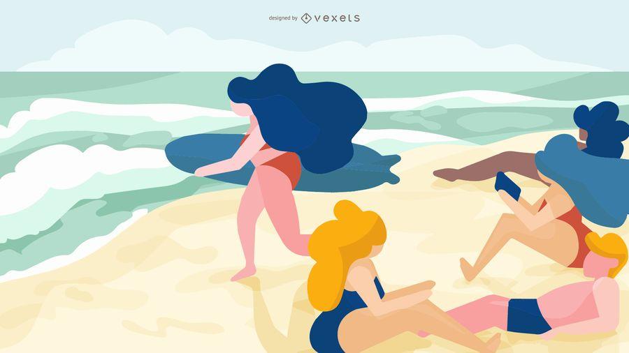 Girls at Beach