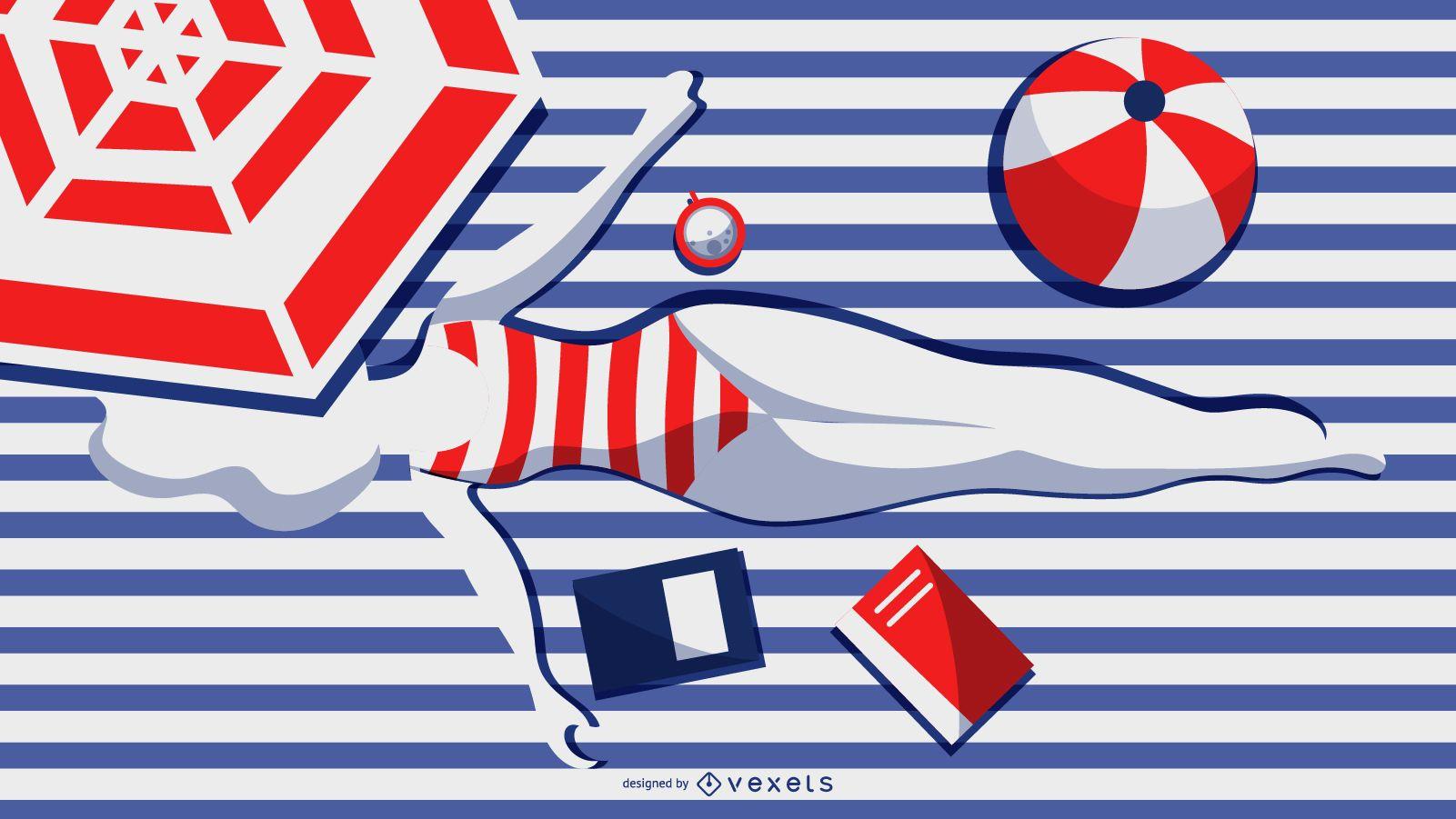 diseño de niña de verano a rayas