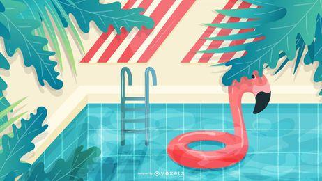Ilustración de verano junto a la piscina