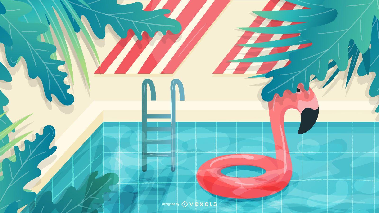 Ilustração de verão à beira da piscina