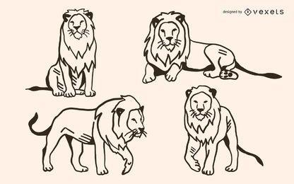 Conjunto de vetores de Doodle de leão