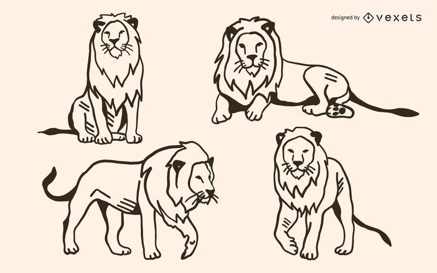 Lion Doodle Vector Set