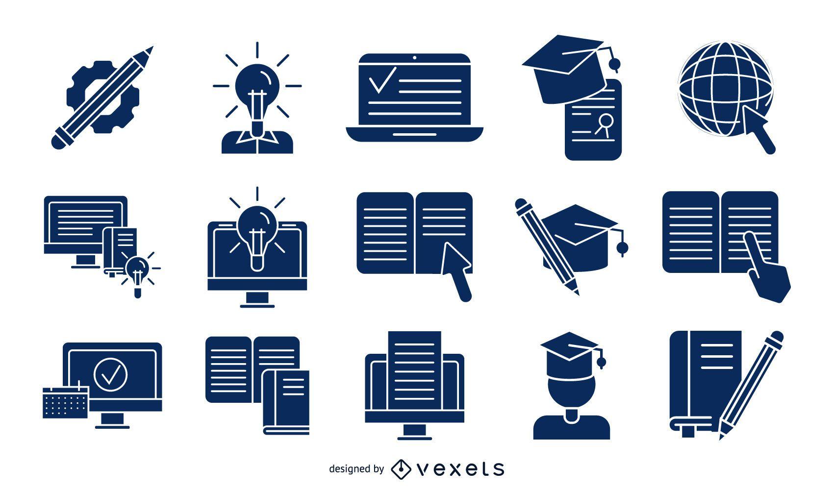 Colección de silueta detallada de educación en línea