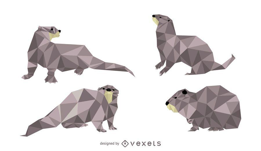 Conjunto de vetor de lontra Lowpoly