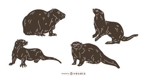 Conjunto de silhueta detalhada de lontra