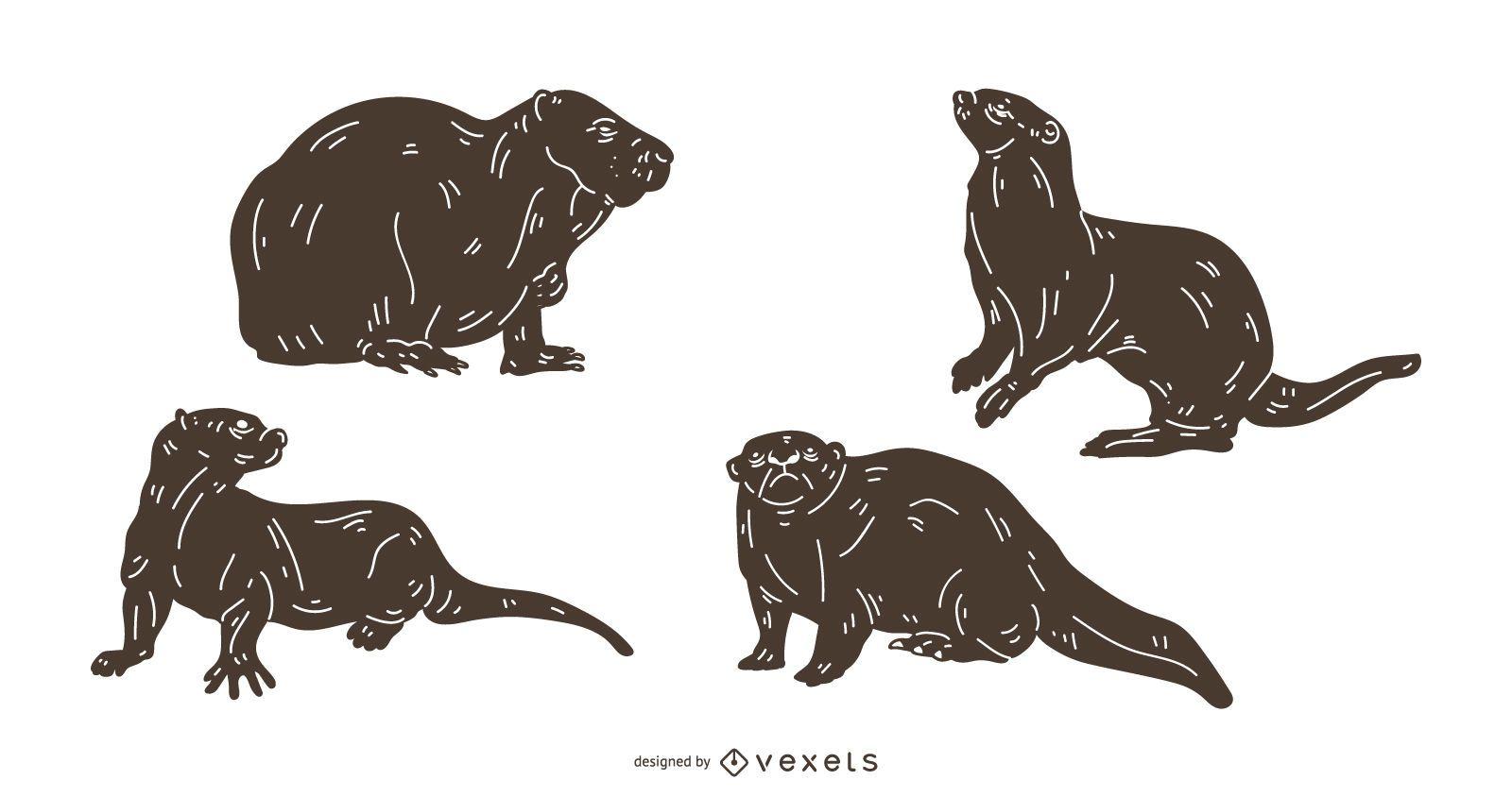 Otter Detailed Silhouette Set