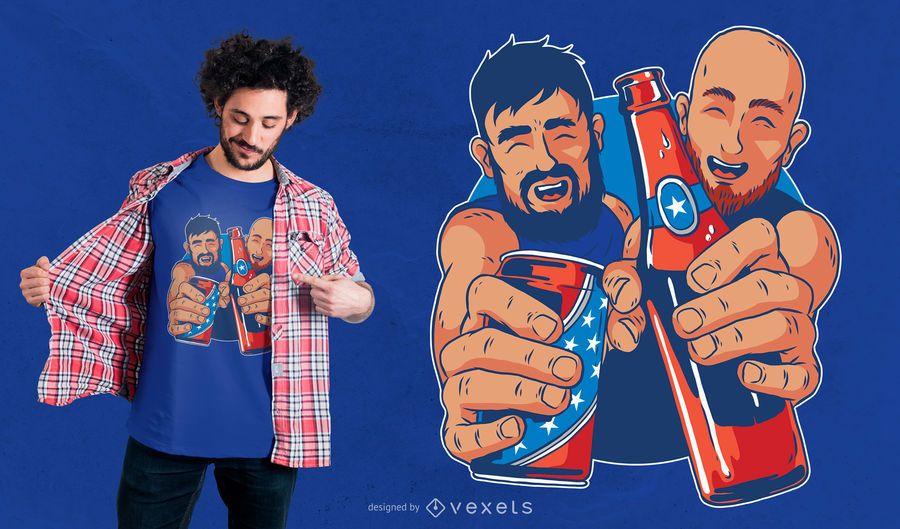 Diseño de camiseta de cerveza americana