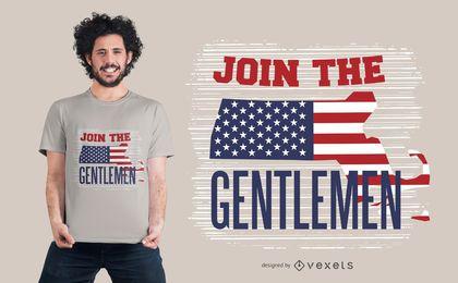 Projeto americano do t-shirt dos cavalheiros