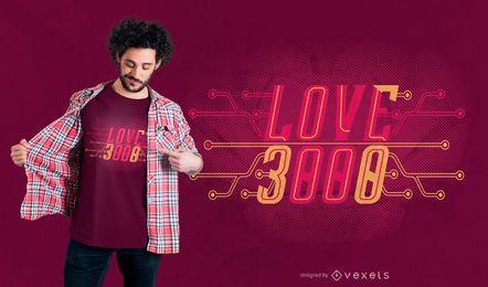 Te amo diseño de camiseta 3000