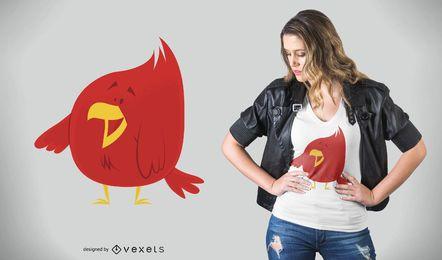 Projeto t-shirt vermelho Chubby do pássaro
