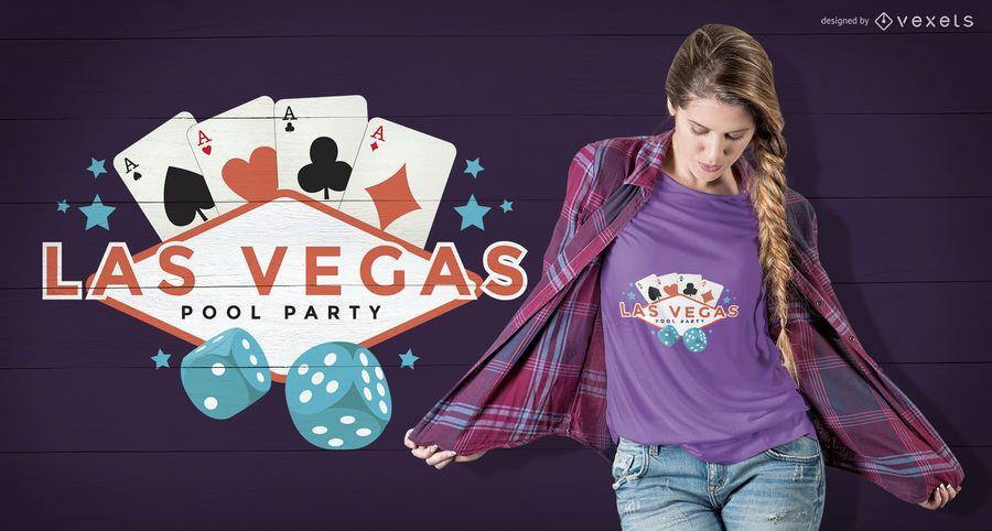 Projeto do t-shirt da festa na piscina de Vegas