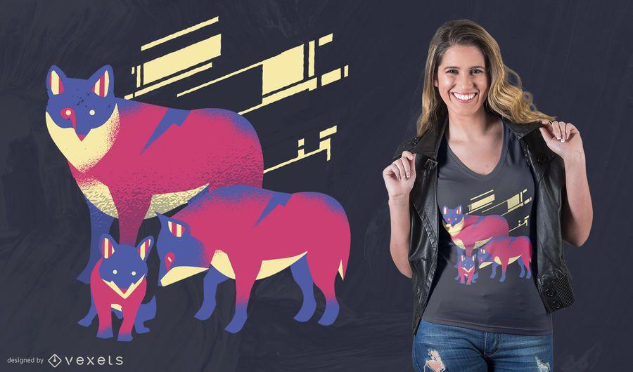 Wolf-Familien-T-Shirt Entwurf