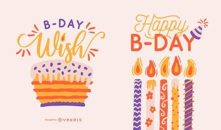 Conjunto de letras de feliz aniversário