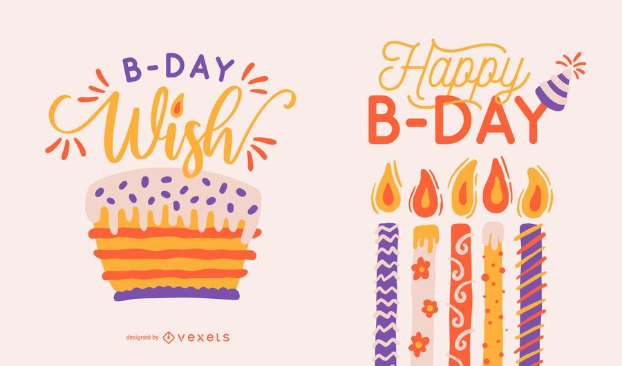 Happy b-day lettering set