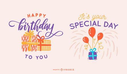 Birthday gift lettering set