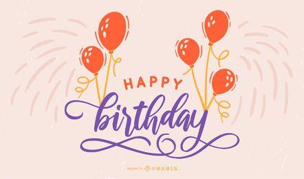 Feliz aniversário, rotulação, desenho