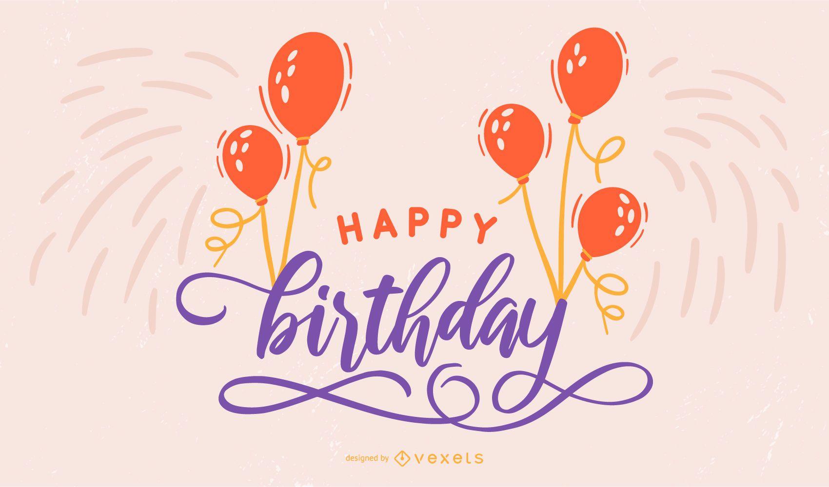 Happy Birthday Lettering Design Vector Download