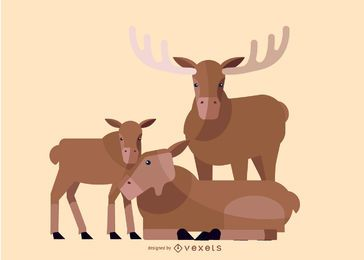 Deer family illustration