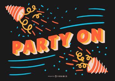 Fiesta en banner de cumpleaños