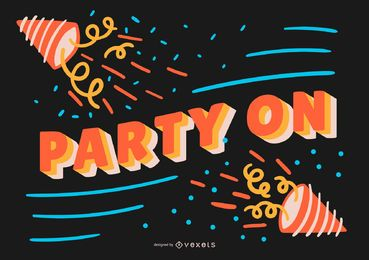 Party on birthday banner