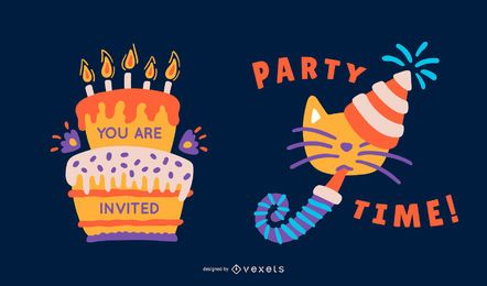 Cute birthday party vector set