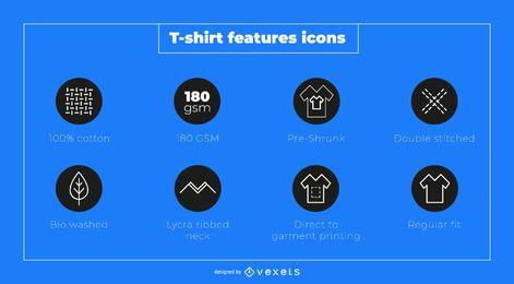 Conjunto de ícones de recursos de camiseta