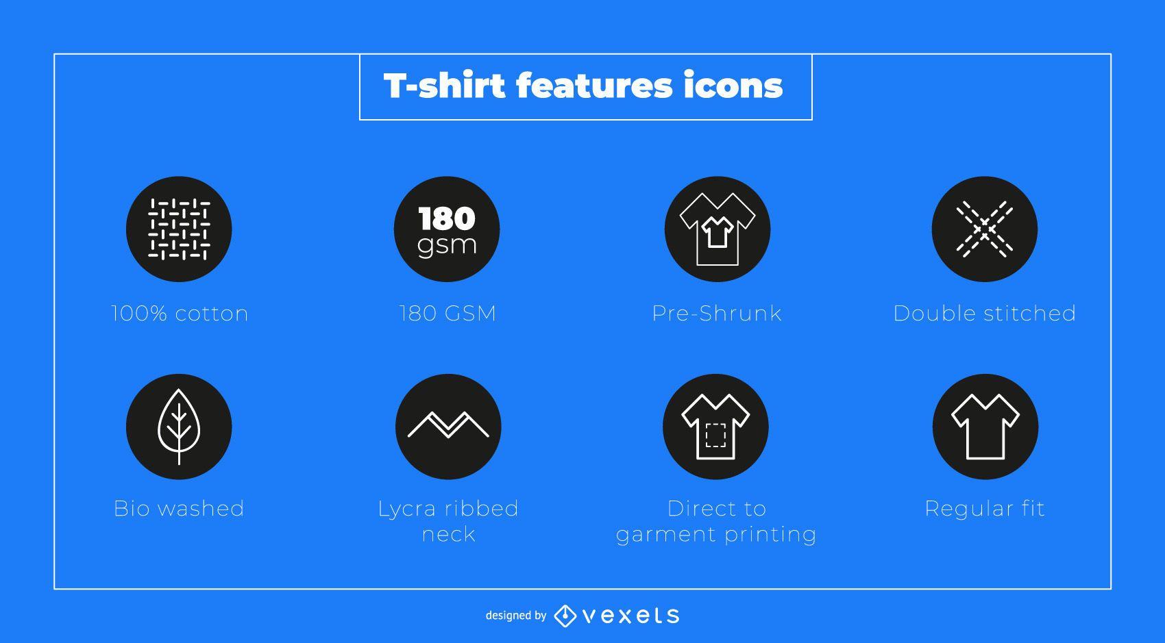 Conjunto de iconos de características de camiseta