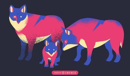 Ilustración de familia de lobo de neón