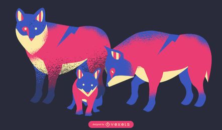 Neon-Wolf-Familien-Illustration