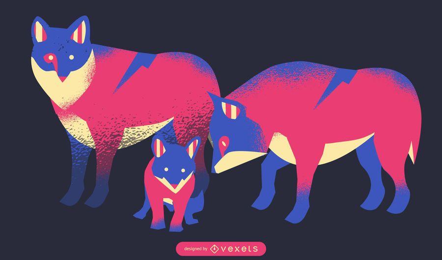 Ilustração de família de lobo de néon