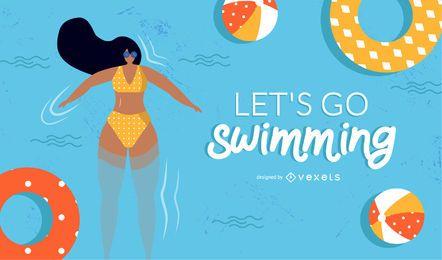 diseño de niña nadadora