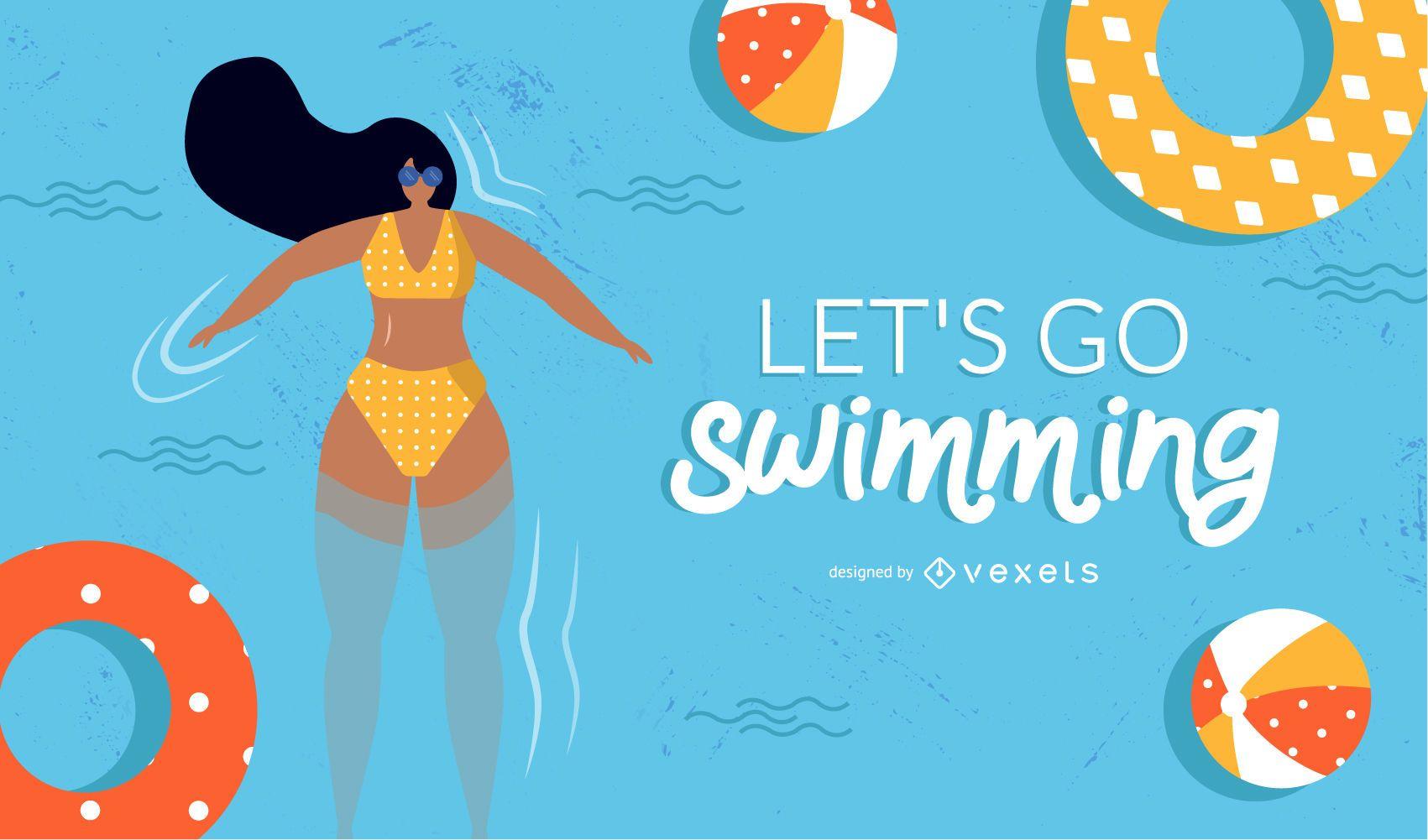 diseño de niña de natación