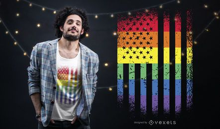 Design americano do t-shirt da bandeira do orgulho