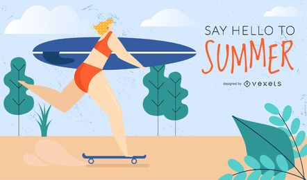 diseño de chica patinadora surfista