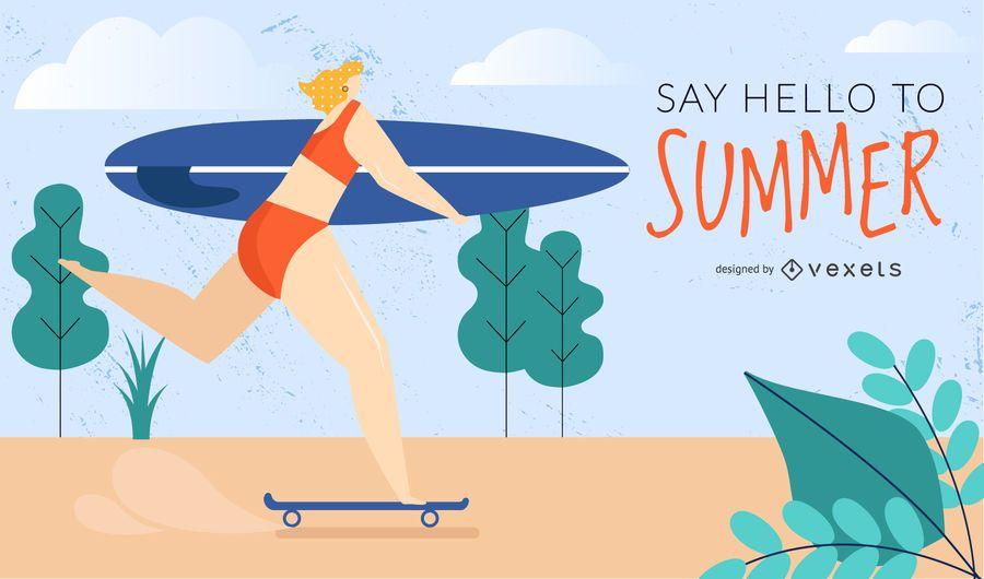 skater surfer girl design