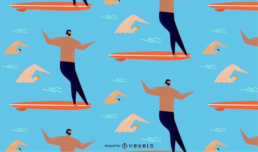 surfen Sie und schwimmen Sie Musterdesign