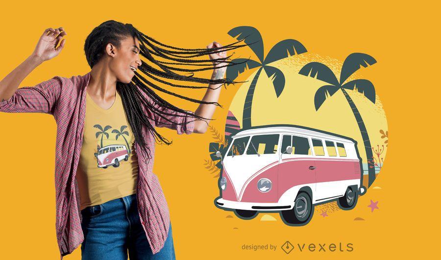 diseño de camiseta de viaje de estilo retro