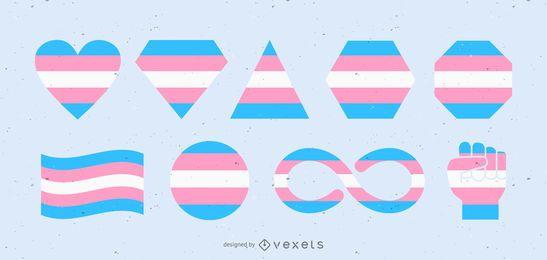 diseño de formas de bandera transgénero