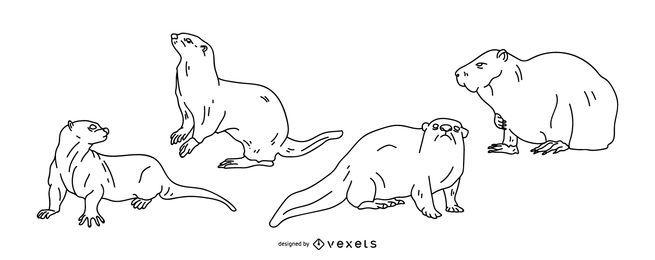 Projeto de vetor de traçado de lontra