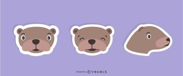 Conjunto de adesivos de lontra