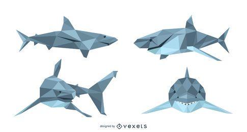 Conjunto de vetores de Lowpoly de tubarão