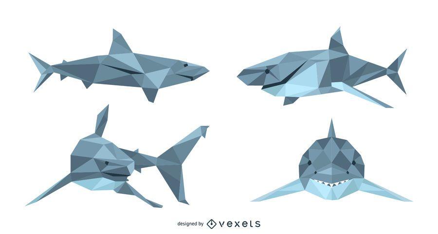 Shark Lowpoly Vector Set