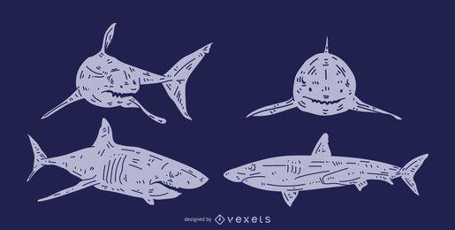 Conjunto de silueta detallada de tiburón