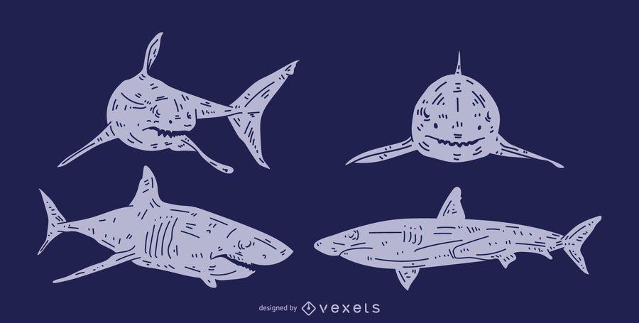 Conjunto de silhueta detalhada de tubarão