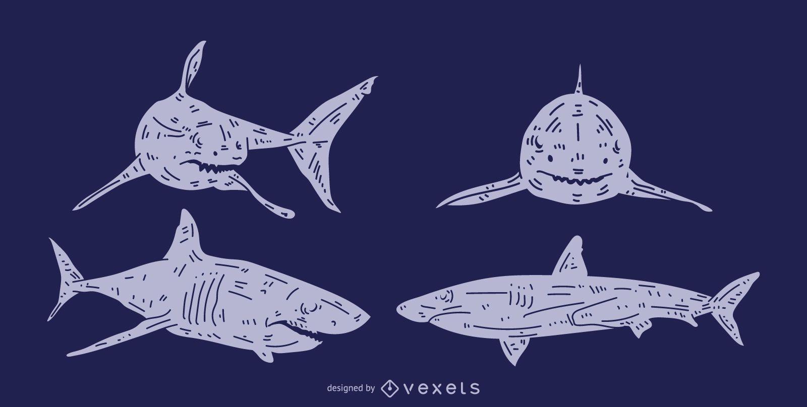 Shark Detailed Silhouette Set